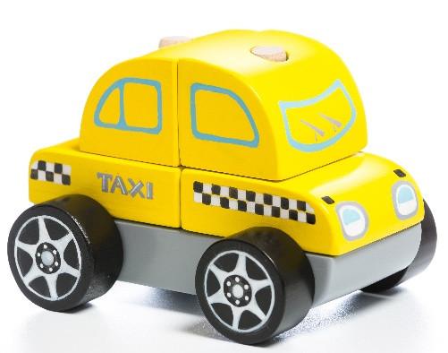Машинка Тахі LM-6. Дерев'яна розвіваюча іграшка Cubika