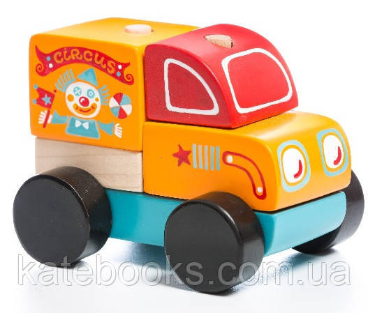 Машинка Мандруючий цирк LM-7. Дерев'яна розвіваюча іграшка Cubika