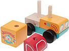 Машинка Мандруючий цирк LM-7. Дерев'яна розвіваюча іграшка Cubika, фото 3