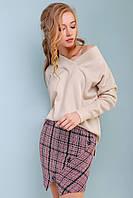 Женский свитер пуловер с v-образным вырезом 42-50 размера светло-кофейный