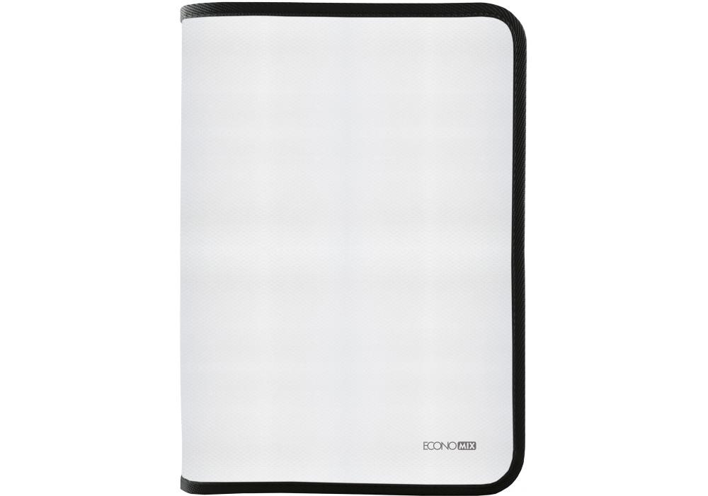 Папка-пенал пластиковая на молнии Economix А4, прозрачная, фактура: ткань молния черная E31644-01
