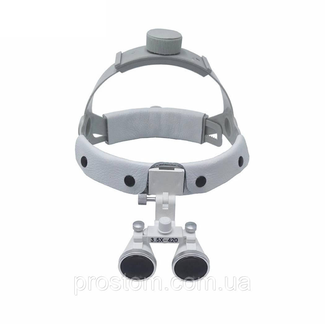 Комплект бинокуляры на шлеме 3.5-420 + LED (черные)