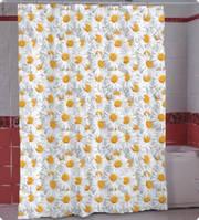 Штора для ванной комнаты  из полиэстера (180Х200 см) декор CAMOMILE с бежевым узором Miranda OST-361