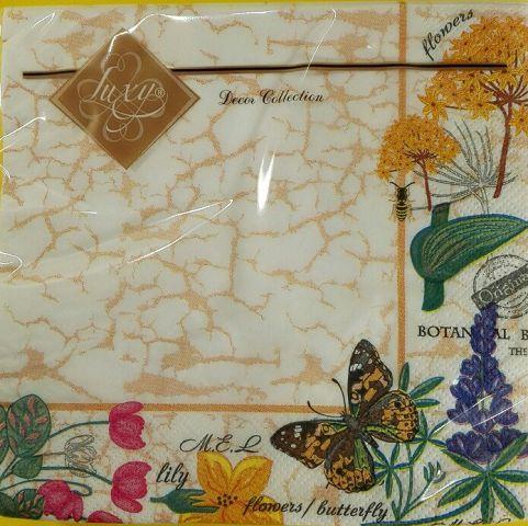 Салфетки столовые (ЗЗхЗЗ, 20шт) Luxy  Ботанический сад (663) (1 пач)