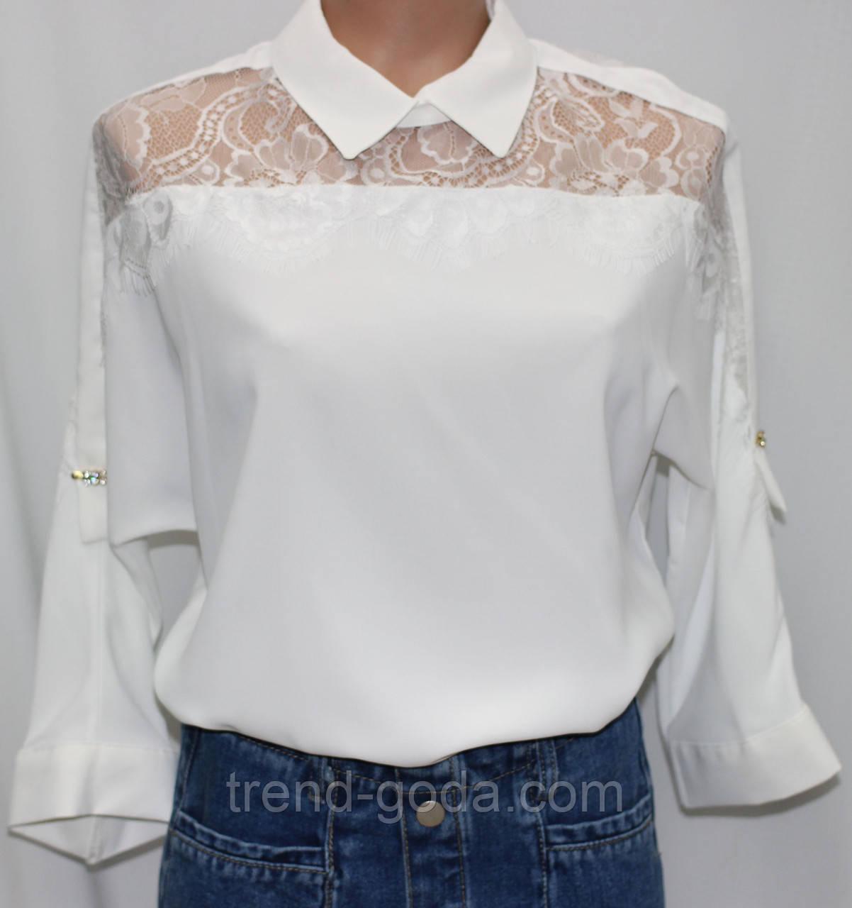 Блуза женская стильная белая, шифон с кружевом, Турция