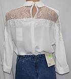 Блуза женская стильная белая, шифон с кружевом, Турция, фото 3