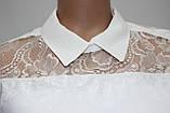 Блуза женская стильная белая, шифон с кружевом, Турция, фото 5