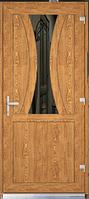 Пластиковые входные двери  Steko двухсторонняя ламинация в массе золотой дуб, рефлекторное стекло