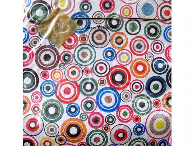 Салфетки столовые (ЗЗхЗЗ, 20шт) Luxy  Яркие круги (067) (1 пач)