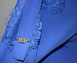 Блуза женская стильная синяя, шифон с кружевом, Турция, фото 7