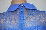 Блуза женская стильная синяя, шифон с кружевом, Турция, фото 8
