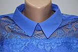 Блуза женская стильная синяя, шифон с кружевом, Турция, фото 9