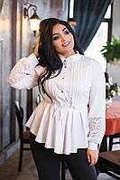 885bbfd3fb747 Блузка блуза женская софт отделка гипюр белый бордо черный батал  размеры:50,52,