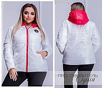 9ab6cc7a8db Женская белая куртка утепленная с капюшоном 44-46