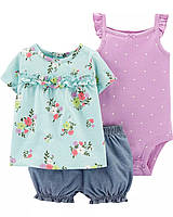 Летний комплект тройка Carters 12M рост 72-78см набор боди шорты туника Картерс девочке цветочный принт шамбре