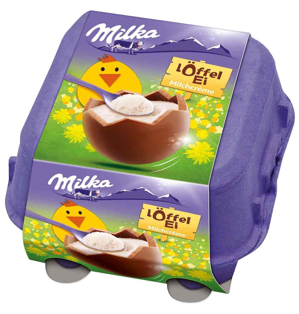 Шоколадные яички в лотке Milka «Löffel Ei» c молочным кремом, 144 г.
