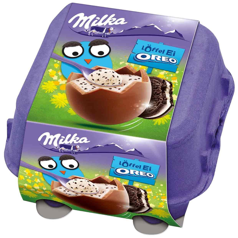 Шоколадные яички в лотке Milka «Löffel Ei Oreo» cо сливочным муссом и печеньем орео, 144 г.