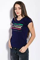 Футболка женская с принтом на груди 81P821 (Темно-синий)