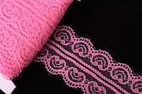 """Кружево льняное """"Echeveria"""" для декративной отделки, розовое, длина 23м, Кружевная тесьма, Тесьма льняная"""
