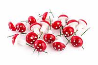 Грибы декоративные Осень, пластик, белые с красными шапочками, декор для дома, товары для рукоделия, грибы для декора