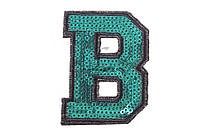 (Цена за 50шт) Фурнитура из пайеток Буква В, ширина 5 см, высота 6,7 см, для украшения одежды, буквы декоративные