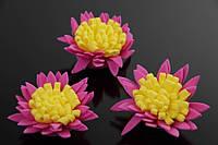 Цветок декоративный Ixia, диаметр 3,5 см, фоамиран, цвет розовый с желтой серединой, декоративные цветы, цветы исскуственне для рукоделия