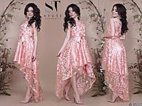 Женское вечернее ассиметричное платье из атласа и вышивка