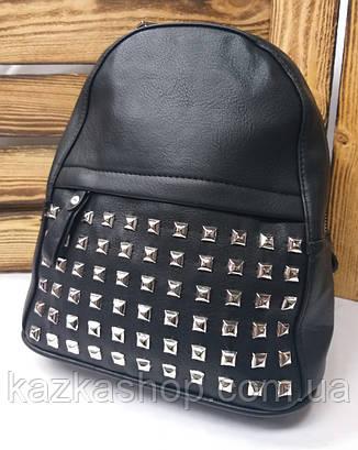 Женский рюкзак черного цвета на один отдел искусственная кожа дополнительный карман спереди, фото 2