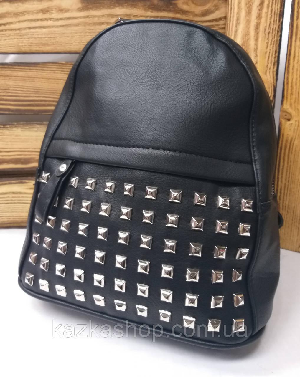 Женский рюкзак черного цвета на один отдел искусственная кожа дополнительный карман спереди
