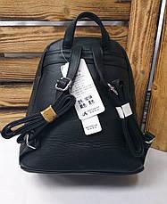 Женский рюкзак черного цвета на один отдел искусственная кожа дополнительный карман спереди, фото 3