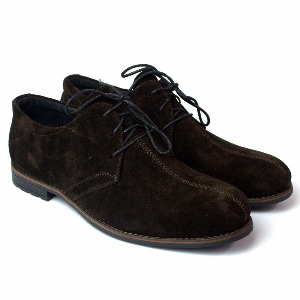 Туфлі коричневі замшеві з рядком чоловіче взуття великий розмір Rosso Avangard Kardinall Brown Vel BS