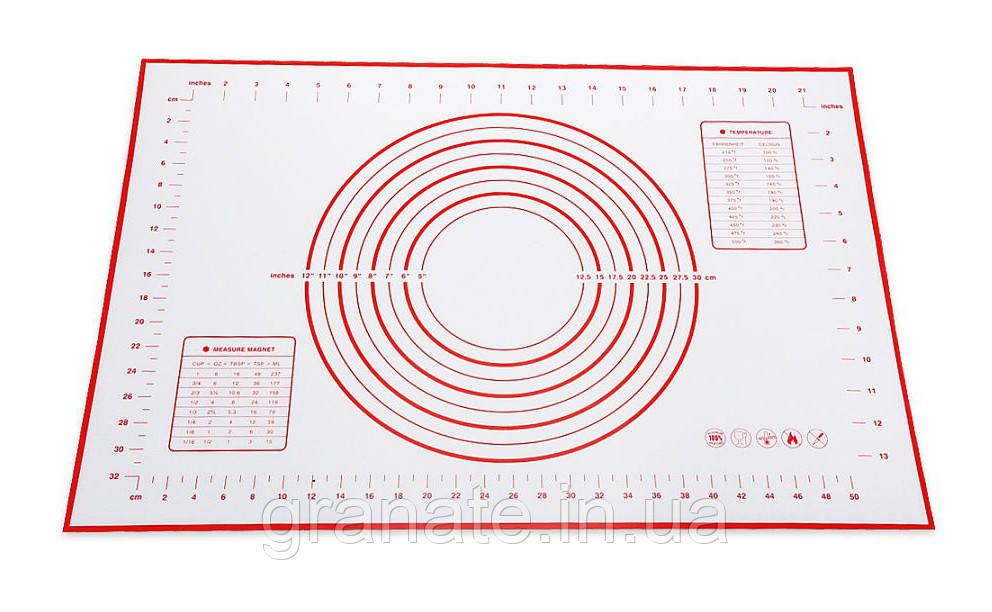 Силиконовый армированный коврик для раскатки теста, коврик для выпечки с разметкой 60х40см