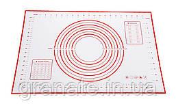 Армированный силиконовый коврик для раскатки теста, коврик для запекания, коврик с разметкой 60х40см