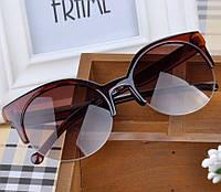 Очки солнцезащитные в ретро стиле - глаза кошечки, коричневый цвет