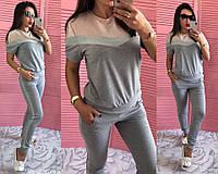 Хит! Женский спортивный костюм штаны с лампасами и кофта футболка с люрексом серый с пудрой 42-44 44-46, фото 1