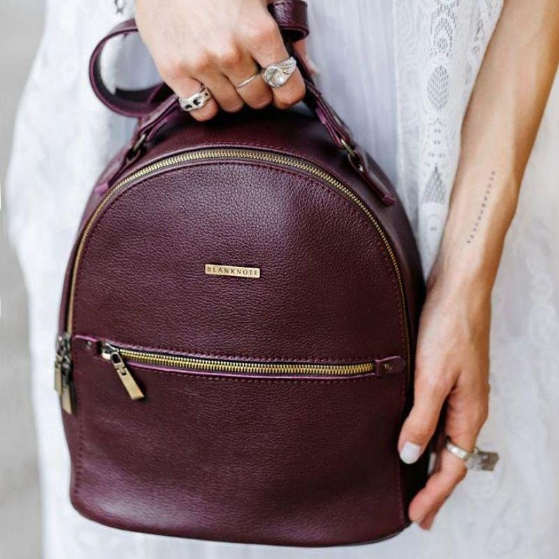 c965e2a73eac Кожаный мини-рюкзак BlankNote Kylie Марсала (BN-BAG-22-marsala ...
