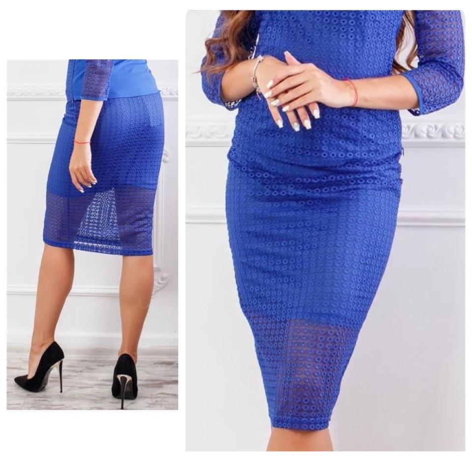 Кружевная юбка карандаш, ткань гипюр (арт 814/2), цвет электрик