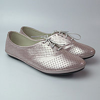 Балетки розовые летние кожаные женская обувь LaCoSe V Purple Perl Perf Leather by Rosso Avangard Лиловые, фото 1