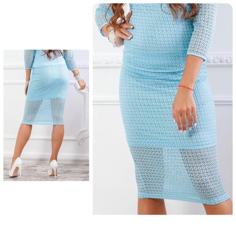 Кружевная юбка карандаш, ткань гипюр (арт 814/2), цвет голубой