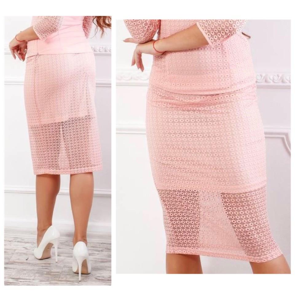 Кружевная юбка карандаш, ткань гипюр (арт 814/2), цвет пудра