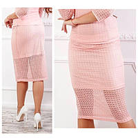 Кружевная юбка карандаш, ткань гипюр (арт 814/2), цвет пудра, фото 1