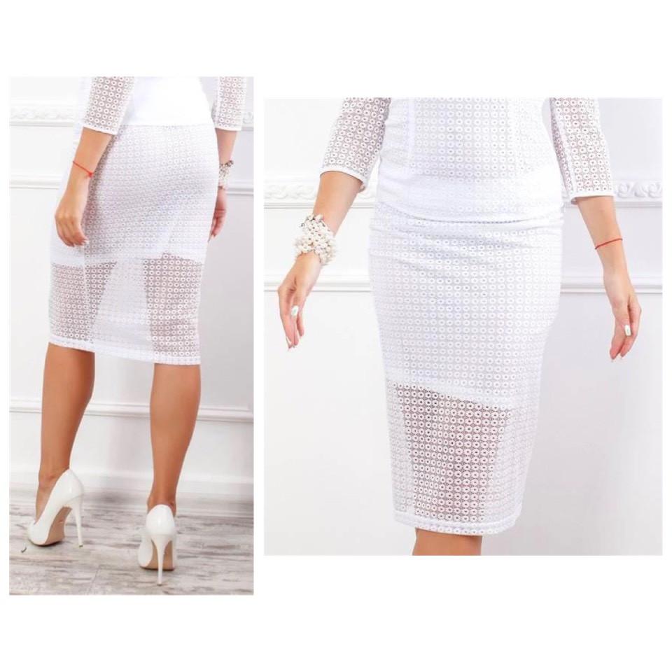 Кружевная юбка карандаш, ткань гипюр (арт 814/2), цвет белый