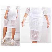 Кружевная юбка карандаш, ткань гипюр (арт 814/2), цвет белый, фото 1