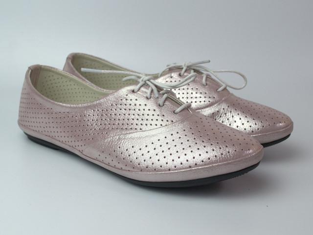 Балетки розовые летние кожаные женская обувь LaCoSe V Purple Perl Perf Leather by Rosso Avangard Лиловые