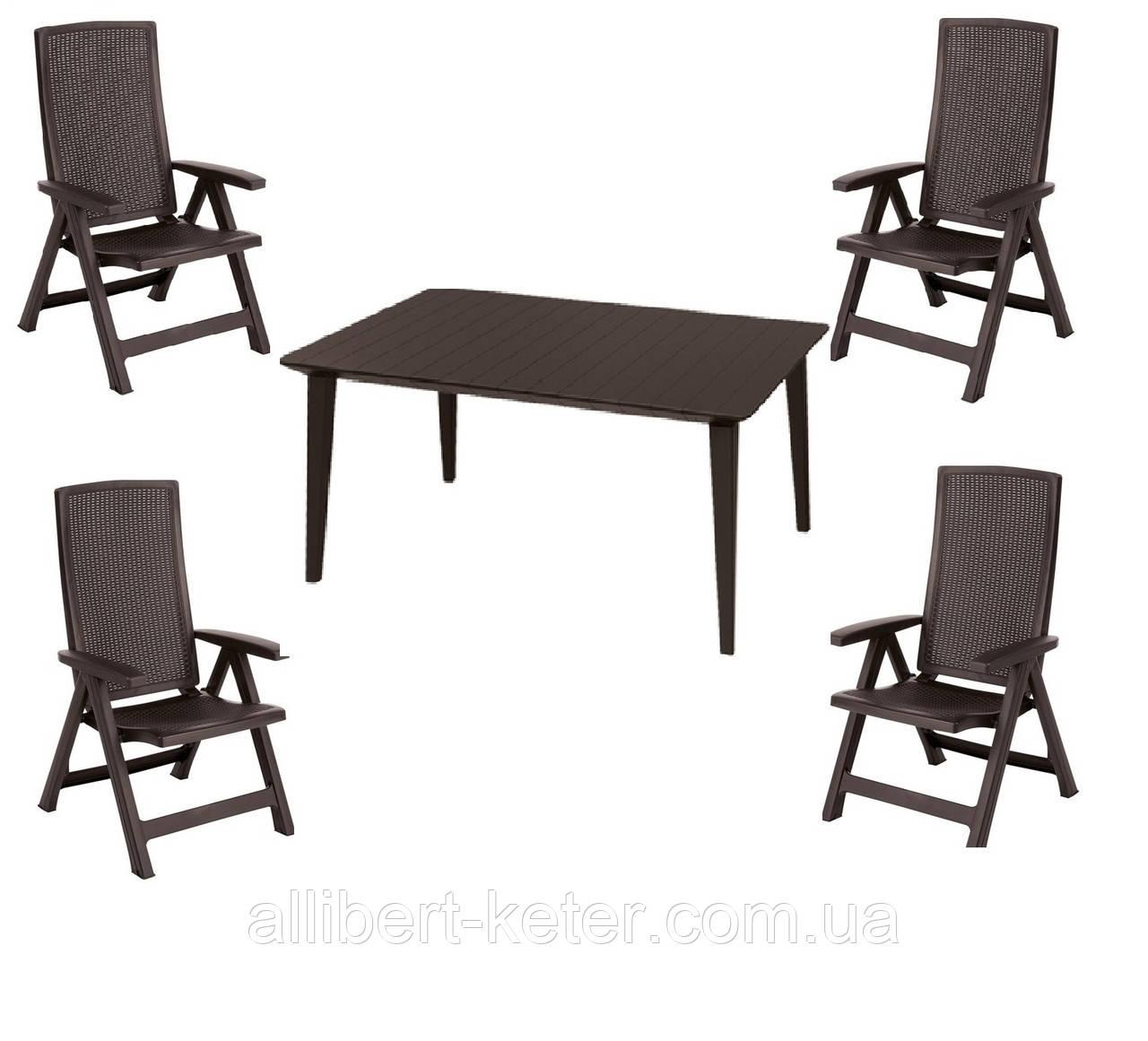 Комплект садових меблів MONTREAL WITH LIMA DINING SET темно-коричневий (Keter)