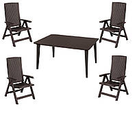 Комплект садових меблів MONTREAL WITH LIMA DINING SET темно-коричневий (Keter), фото 1