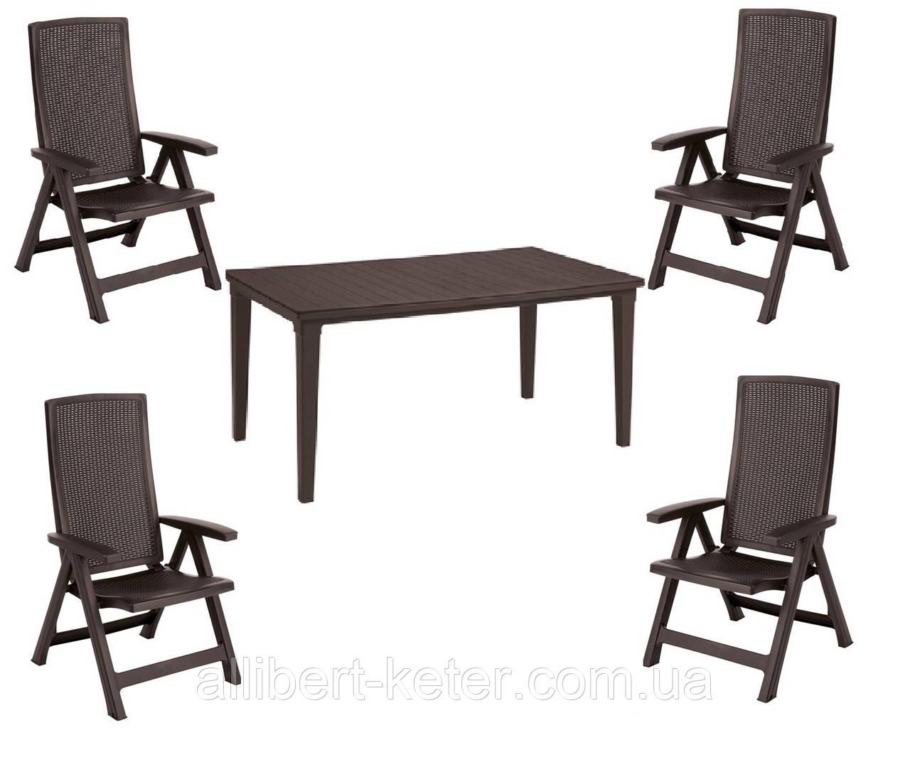 Комплект садових меблів MONTREAL WITH FUTURA DINING SET темно-коричневий (Keter)