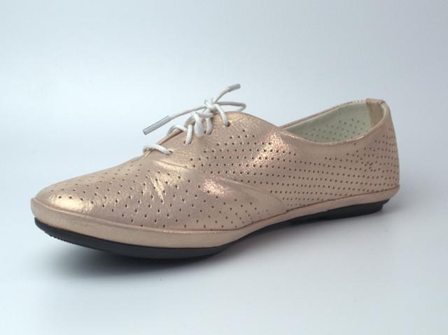 """Пудровые балетки летние кожаные женская обувь больших размеров LaCoSe V Saffron Perl Perf Leather """"Шафран"""""""