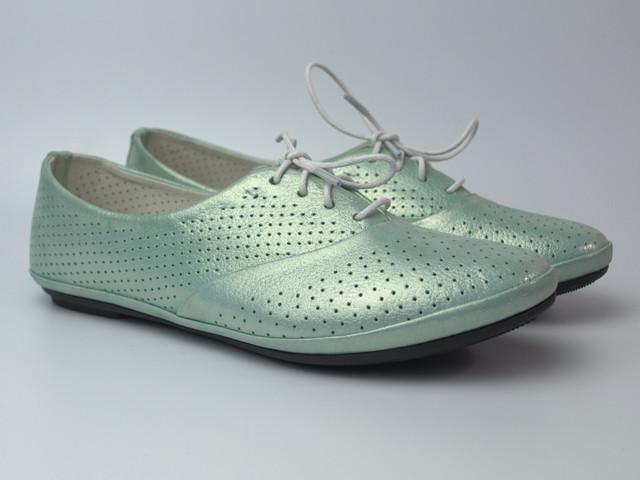 Балетки бірюзові літні шкіряні жіноче взуття великих розмірів LaCoSe V Turquoise Perl Perf Leather BS
