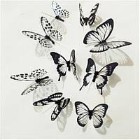 Набор №50 из 18 шт черных и белых декоративных 3-D бабочек
